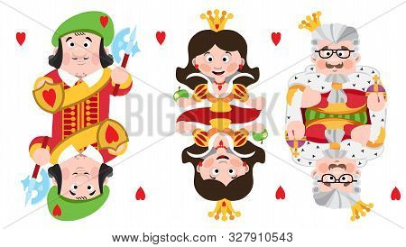 King, Prince, Queeen Heart. Playing Cards With Cartoon Cute Characters.