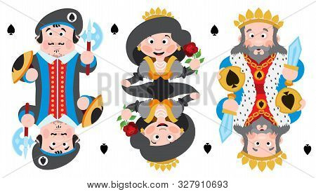 King, Prince, Queeen Spades. Playing Cards With Cartoon Cute Characters.