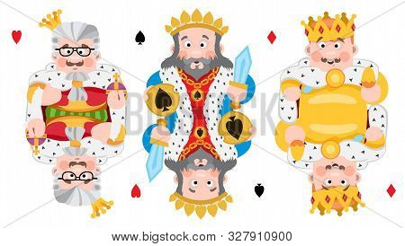 Kings Of Three Suits: Hearts, Spades And Diamonds. Playing Cards With Cartoon Cute Characters.