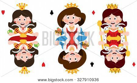 Queens Of Three Suits: Hearts, Clubs And Diamonds. Playing Cards With Cartoon Cute Characters.