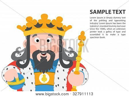 King Of Clubs. Playing Cards With Cartoon Cute Characters. Background With A Zone For Text And A Fun