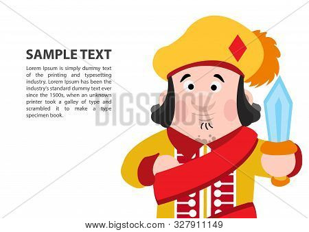Jack Of Diamonds. Playing Cards With Cartoon Cute Characters. Background With A Zone For Text And A