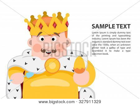 King Of Diamonds. Playing Cards With Cartoon Cute Characters. Background With A Zone For Text And A