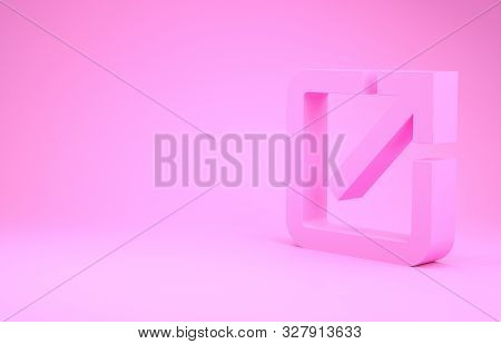 Pink Open In New Window Icon Isolated On Pink Background. Open Another Tab Button Sign. Browser Fram