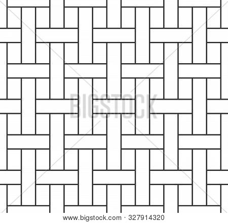 Abstract Basketwork Seamless Pattern, Black Grating Line On White Backdrop. Design Geometric Texture