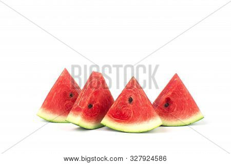 Closeup Of Some Pieces Of Refreshing Watermelon. Sliced Of Watermelon Isolated On White Background.