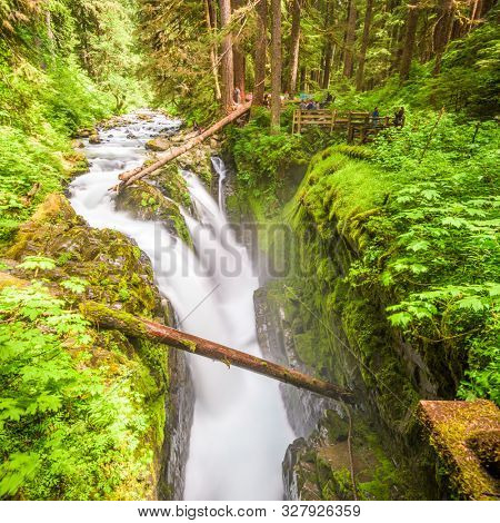Sol Duc Falls in Olympic National Park, Washington, USA.