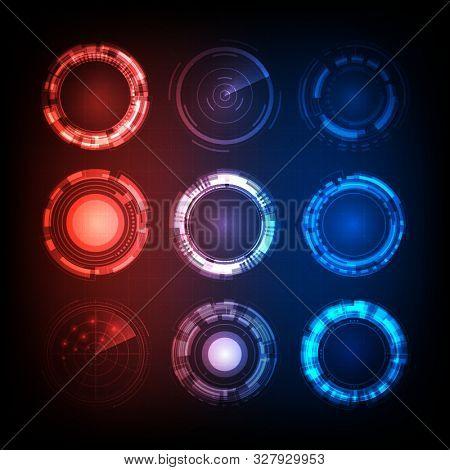 Set Of Futuristic User Interface Hud, Colorful Arc Reactor
