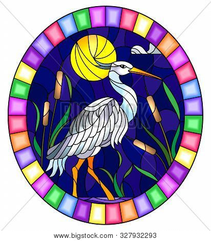 Illustration In Stained Glass Style With White  Heron ,  Reeds On A Pond In The Moon, Sky And Clouds