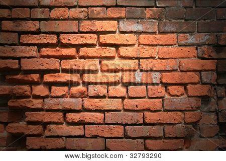 Spotlighted,Rough 1890's Brick Wall