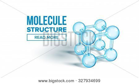 Scientific Molecule Structure Landing Page Vector. Extremely Minute Particle Glass Molecule For Webs