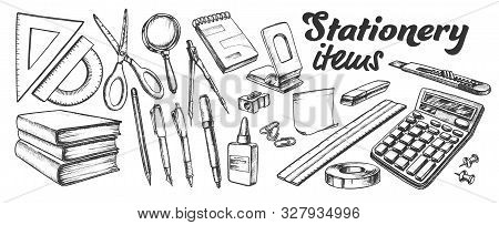 School And Office Stationery Items Ink Set Vector. Stationery Knife And Pen, Calculator And Books, R
