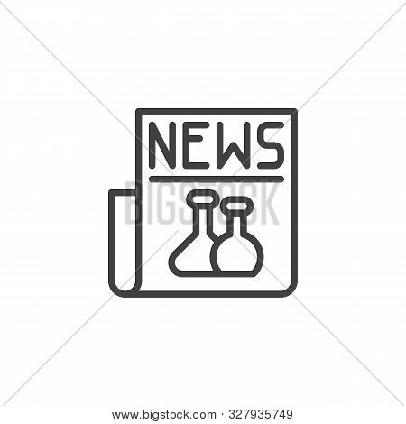 Science Newspaper Line Icon. Linear Style Sign For Mobile Concept And Web Design. Biochemistry News