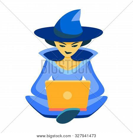 It Witch. The Sorceress Works On The Laptop In A Suit Of The Sorceress. Congratulations On Halloween