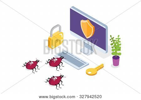 Computer Virus, Data Protection Isometric Concept, Network Data, Internet Security, Secure Bank Tran
