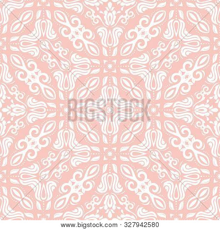 Classic Seamless Vector Light Pink And White Pattern. Damask Orient Ornament. Classic Vintage Backgr