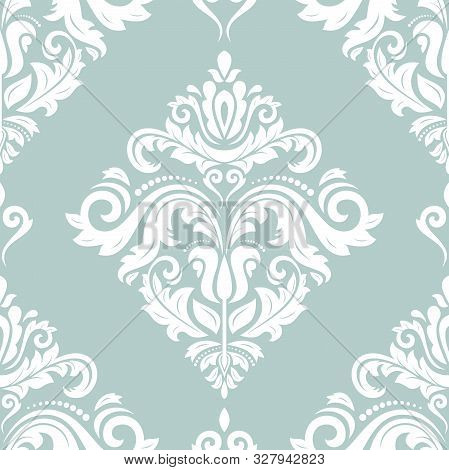 Orient Vector Classic Pattern. Seamless Abstract Background With White Vintage Elements. Orient Back