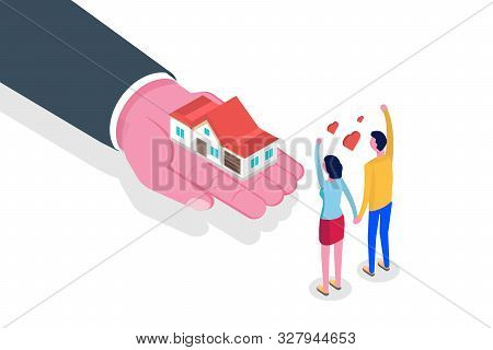 Hand Give House. Real Estate Isometric Concept. Vector Illustration.