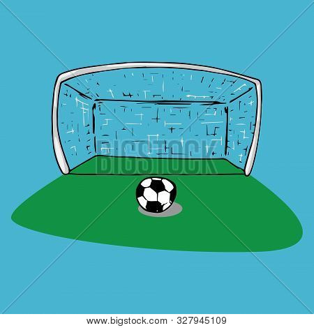 Football Goal Icon. Vector Illustration Of Football Goal With Ball. Hand Drawn Ball Near The Footbal