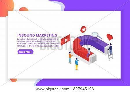 Lead Generate, Inbound Marketing Magnet Isometric Concept. Vector Illustration