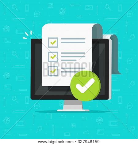 Survey Checklist Form Or Complete Task List On Computer Vector Illustration, Flat Cartoon Pc With Ch