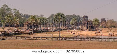 Angkor Temples, Siem Riep, Cambodia - February 12, 2018: Panoramic View Of The Main Temple In Angkor