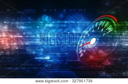 Speed Motion Background With Fast Speedometer Car. Racing Velocity Background, Digital Abstract Spee