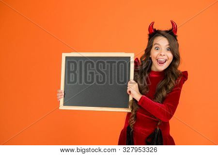 Remember The Ghoul Times. Little Girl Cute Horns Halloween Advertisement. Child Imp Hold Blackboard.