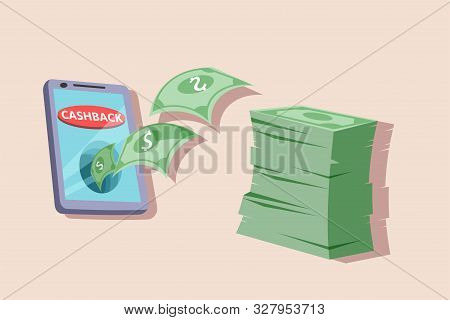 Money Cashback Vector Illustration. Loyalty Program Participant Benefits Flat Design Element. Cash B