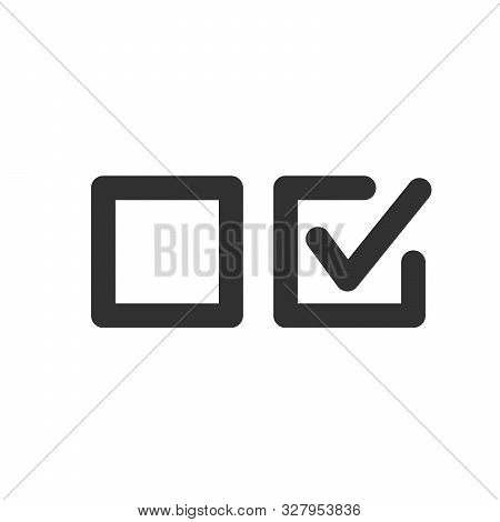 Check Uncheck Concept, Checkbox Set With Blank And Checked Checkbox Line Art Vector Icon For Apps An
