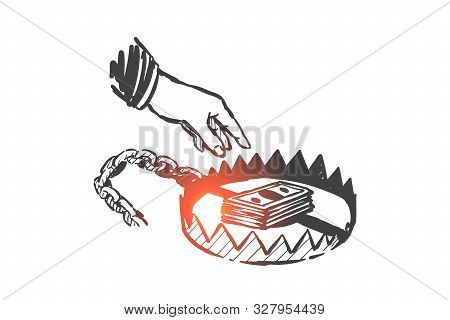 Businessman Trap, Illegal Income, Money Fraud Sketch. Human Hand Reaching For Money In Mantrap, Busi
