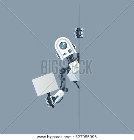 Humanoid Robot Look Out Corner With Poster In Hand Artifical Intellelegence Technology Science Ficti