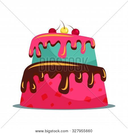 Delicious Two Tier Cake Flat Vector Illustration. Sweet Multi Layered Dainty With Creamy Icing And C