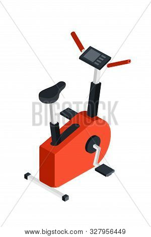 Stationary Bicycle Isometric Illustration. Fitness Club Cardio Exercise Equipment 3d Vector Drawing.