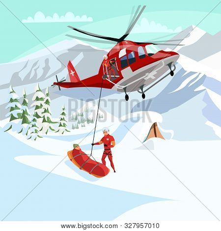 Alpine Rescue Service Flat Vector Illustration. Brave Mountain Rescuers Cartoon Characters. Avalanch
