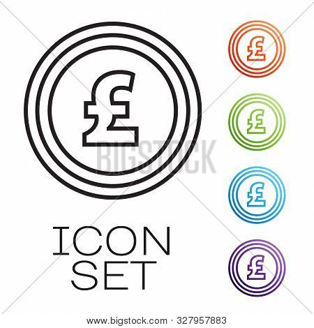 Black Line Coin Money With Pound Sterling Symbol Icon Isolated On White Background. Banking Currency