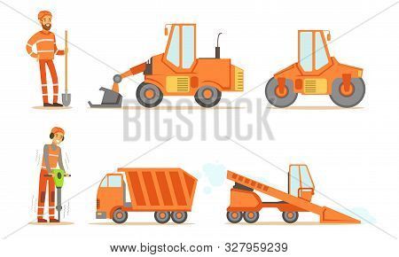 Road Construction Workers In Uniform And Industrial Machines, Bulldozer, Heavy Truck, Tractor, Paver