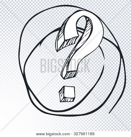 Cartoon Question Mark With Round Frame On A Transparent Background. Question Mark In Grunge Retro St
