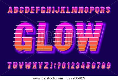 Glow Alphabet Font. Neon Effect Letters, Numbers And Symbols. Stock Vector Typescript For Your Poste