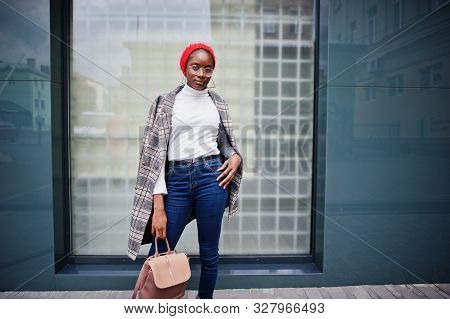 Young Modern Fashionable, Attractive, Tall And Slim African Muslim Woman In Hijab Or Turban Head Sca