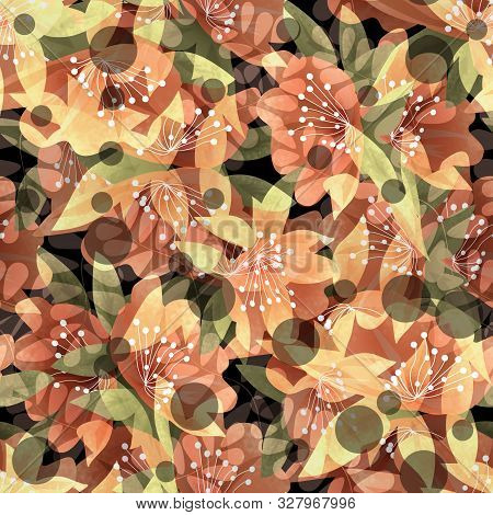 Seamless Floral Flowers Abstract Modern Pattern Background Image