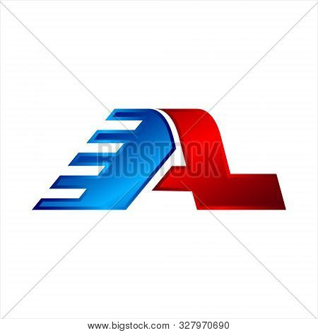 Al Letter Logo Design Vector With Color Blue And Red. Vector Logo