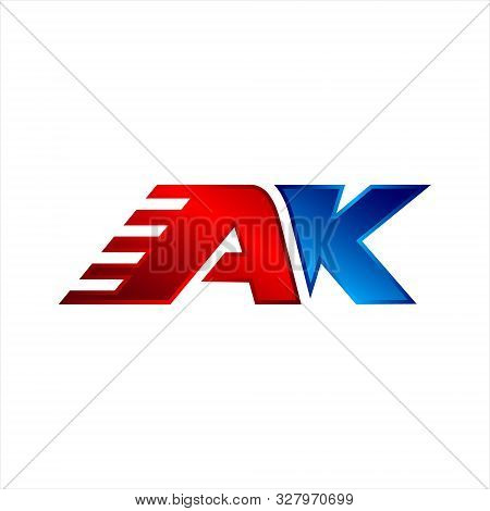 Ak Initial Logo Inspiration, Clean And Smart Logo Design, In Red And Blue.