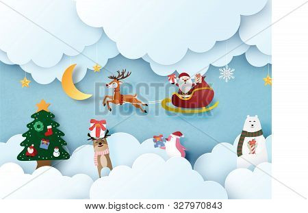 Merry Christmas And Happy New Year Greeting Card In Paper Cut Style. Vector Illustration Christmas C