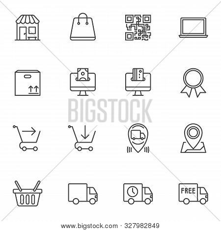 Ecommerce Line Icons Set. Linear Style Symbols Collection, Outline Signs Pack. Vector Graphics. Set