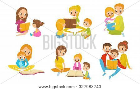Family Reading Book Together. Parents With Thiir Kid Reading Fairy Tale Vector Illustrations Set