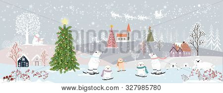Panoramic Of Winter Landscapes With Snow,vector Of Horizontal Banner Of Winter Wonderland With Cute
