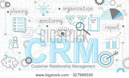 Crm Banner. Customer Relationship Management Concept Background With Conceptuals Keywords. Internet
