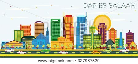 Dar Es Salaam Tanzania City Skyline with Color Buildings and Blue Sky. Business Travel and Tourism Concept with Modern Architecture.