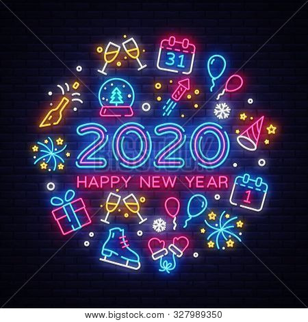 Happy New Year 2020 Neon Icons Set Vector. Merry Christmas Collection Neon Signs. Bright Sign Boards